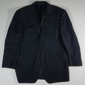 Canali Italy Mens Navy Windowpane Blazer 39R Wool